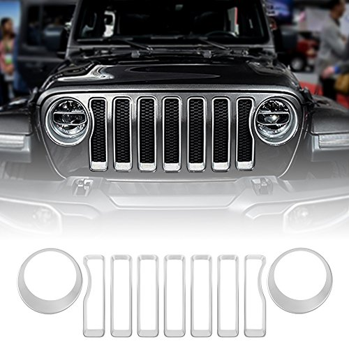 Silver Front Grille Grill Inserts & Headlight Covers Trim for 2018 Jeep wrangler JL (Pack of 9)
