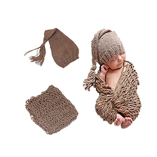 Newborn photography props Handmade Crochet Long Tail Hat Clothes Baby Photograph Props