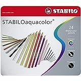 Crayon de couleur - STABILOaquacolor - Boîte métal de 24 crayons aquarellables - Coloris assortis