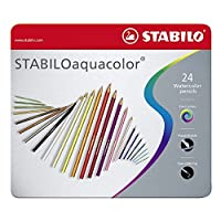 STABILO aquacolor matita colorata acquarellabile colori assortiti - Scatola in Metallo da 24