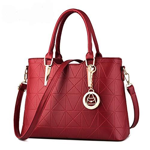 Pu Elegante Superior Compras Trabajo Asa Mano Bandolera Shopper Tote Bag Red De Exull 1368 Para Hombro Bolso Estudiante Cuero Mujer La PFnSqwg41