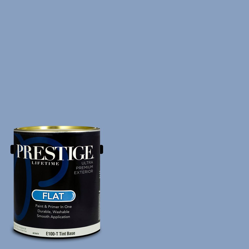 Prestige Paints Exterior Paint and Primer In One, 1-Gallon, Flat,  Comparable Match of Benjamin Moore Steel Blue