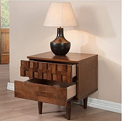 Devonshire 2 Drawer Night Stand, Made with Sturdy Rubberwood and Wood Veneers
