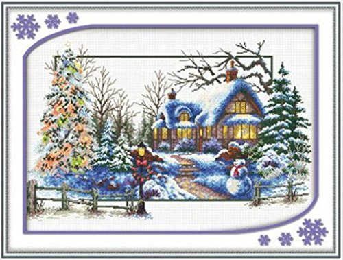 Starlit 21173 - Winter DIY Cross Stitch Full Needlework Embroidery Kit Sewing Craft Painting 74x50 cm (29x20 inch) Winter Cross Stitch Pattern