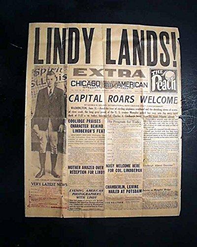 Great Aviator CHARLES LINDBERGH Welcome Home Solo Airplane Flight 1927 HEADLINE CHICAGO AMERICAN--EXTRA, June 11, - Aviator Chicago