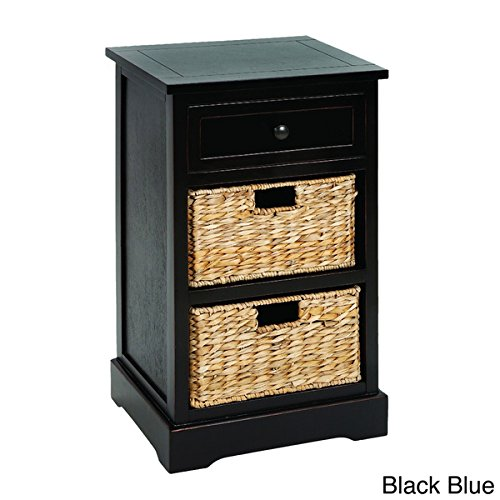 Malibu 3-drawer Storage Wood Side Table Nightstand in Black Blue by Price Discounts