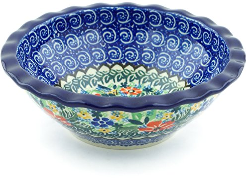 Polish Pottery 5¾-inch Bowl made by Ceramika Artystyczna (Pansy Pair Garden Theme) Signature UNIKAT + Certificate of Authenticity