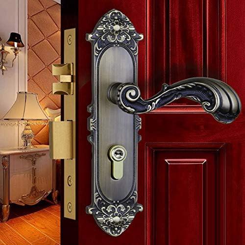 ヨーロッパレバーフル銅ドアロック、ハンドル+ロックコア+キー、屋内サイレント木製ドアハンドルドアロック、ベッドルームバスルームキッチンド