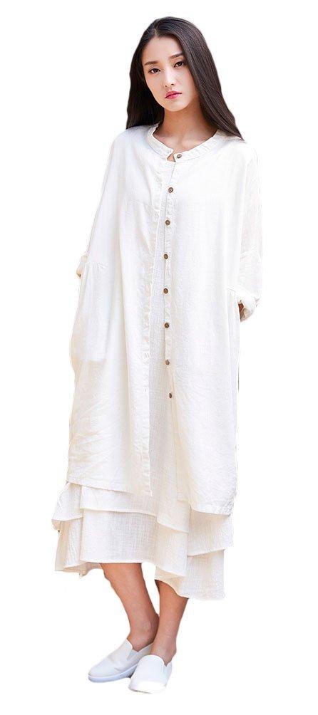 Soojun Women's Solid Color Cotton Linen Button Down Shirts Long Cardigan Coat, Off White