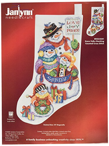 Folk Stockings - Janlynn 14 Count Snow Folks Stocking Counted Cross Stitch Kit, 18-Inch Long