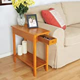 Cheap Chairside Sofa Side Table with Drawer (Walnut)