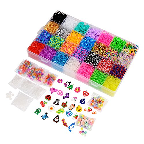 11000 Pcs Colorful Rainbow Rubber Bands Refill Kit Set Box - Loom Bands Large Storage Container , Over 10000 Premium Loom Bands In Different Nice Colors , 600 S Clips , 25 Charms And 200 (Charm Colored Beads)