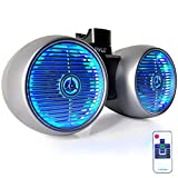 Pyle PLMRWB852LES Hydra Dual Tower Speakers, Marine Wakeboard Water Resistant Sound System, LED Lights