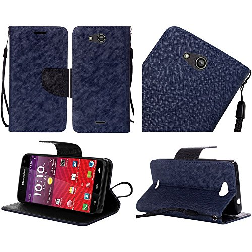 Luckiefind Case Compatible with Kyocera Hydro Wave C6740 / Air C6745, Premium Credit Card Slot Flip Wallet Cover Case (Wallet Dark Blue)