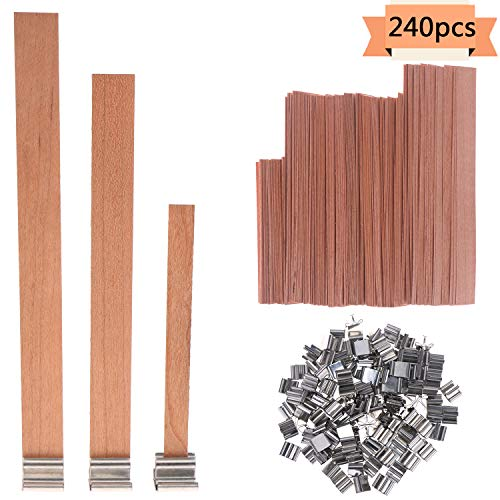 Xgood 120 PCS Wood Candle Wicks 3 Sizes Environmental-Friendly Candle Core Natural Wicks with 120 Pcs Metal Stands for Candle Making,DIY Candle Crafts(13x1.3cm+9x0.8cm +15x1.25cm) ()