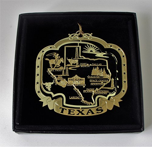 Texas State Brass Christmas Ornament Black Leatherette Gift Box