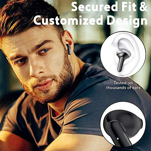 Bluetooth 5.0 Wireless Earbuds Headphones Built in Dual Mic 3-D Stereo Noise Cancelling Earphones with Charging Case Touch Control in Ear Headphones for iPhone/Samsung/Android/Apple Airpods (Balck-1)