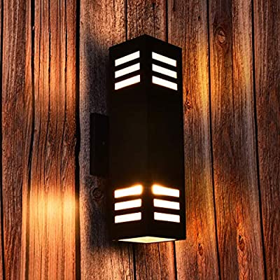 Outdoor Wall Light Fixture, ETL Listed, Modern Exterior Wall Sconce Waterproof Porch Light for Garden & Patio Lights, Black with Frosted Glasses: Home Improvement