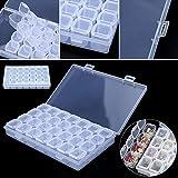 LIAN--Clear Plastic 28 Slots Adjustable Jewelry Storage Box Case Craft Organizer Beads