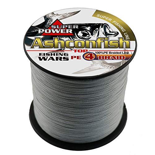 Ashconfish Super Strong Braided Fishing Line-4 Strands Fishing Wire 300M/328Yards Fishing String 10LB-Abrasion Resistant Incredible Superline Zero Stretch Small Diameter -Gray
