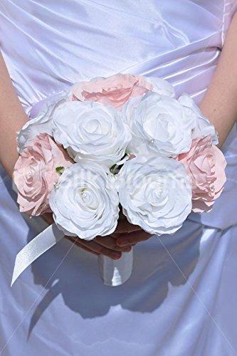 Elegant Blanc Et Rose Pale Artificiel Mariage Bouquet De