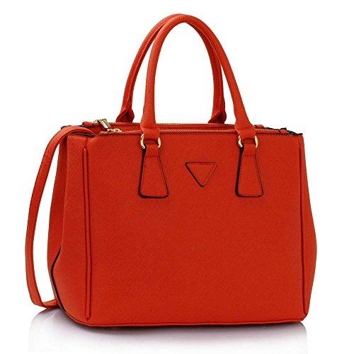 LEESUN LONDON - Bolsa mujer, color gris, talla Large A - Orange