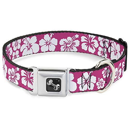 """Buckle Down Dog Collar Bone - Hibiscus Neon Pink/White - Large 15-26"""" from Buckle Down"""