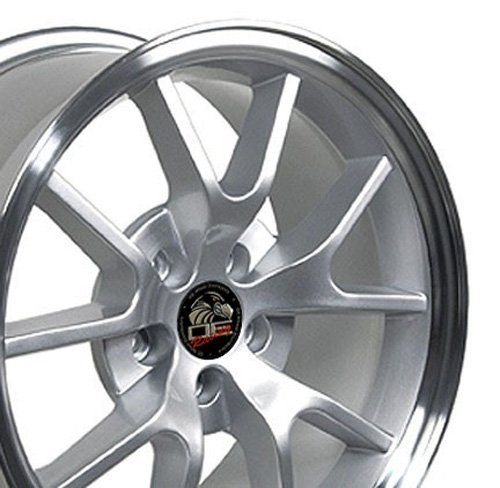 18x9 Wheel Fits Ford Mustang - FR500 Style Silver Rim w/Mach'd Face