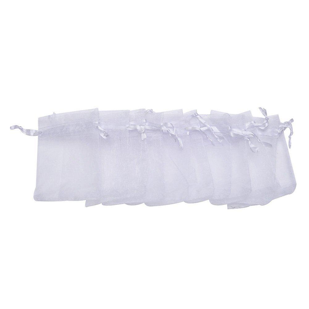 Kanggest 100pcs Bolsas Bolsitas de Organza Boda Blancas 7x9cm para Joyas Caramelo Dulces Regalo Recuerdo Favores de la Boda DIY Decoracion-Blanco