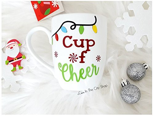Christmas Coffee Mug - a cup of cheer! Full customized holiday coffee mug, a perfect stocking stuffer gift for under 20. (Holiday Cheer Stocking)
