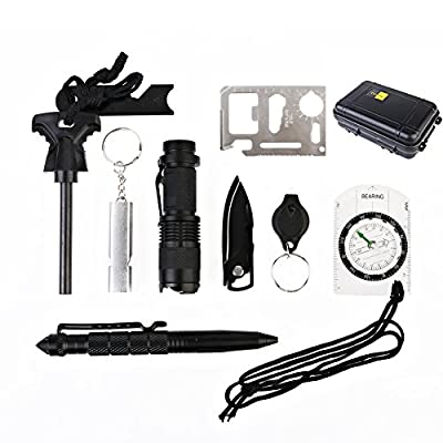 SEANUT Survival Kit Outdoors ultimate Emergency Kits ,10 Piece in One Survival Gear(Tactical Pen, Fire Starter, Flashlight, Whistle, Compass and more)