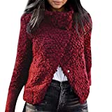 Zainafacai Fashion Outwear, Women's Chunky Asymmetric Hem Wrap Solid Sweater Turtle Cowl Neck Button Coat (Red, XL)