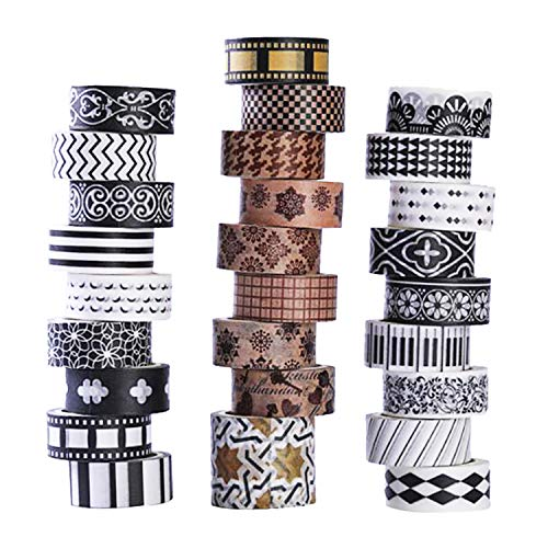 27 Rolls Washi Tape Set, DIY Gift Wrapping Scrapbooking and Craft, Sticky Adhesive Paper Masking Tape with Lovely Printed Patterns and Long-Lasting Colors -