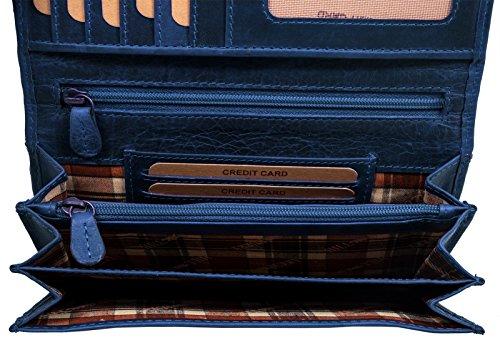 Pelle Hill CreditoPortafogli Un Classe Qualità Porta BanconoteBlu DonnaPortamonete Di Signore Con Vintage Vera In Burry Aspetto Carte Portafoglio Okw08PnX