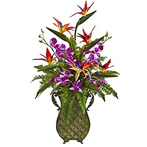 Nearly Natural 1712 Bird of Paradise, Orchid and Fern Artificial Metal Planter Silk Arrangements, Assorted 12