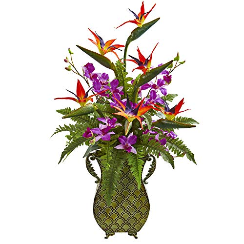 Nearly Natural 1712 Bird of Paradise, Orchid and Fern Artificial Metal Planter Silk Arrangements, Assorted