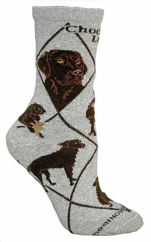 Chocolate Lab on Gray Ultra Lightweight Cotton Crew Socks (Chocolate Labs)