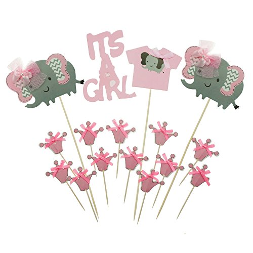 Shxstore Pink Elephant Cake Topper Princess Crown Cupcake Picks For It Is A Girl Baby Shower Birthday Party Supplies, 16 Counts