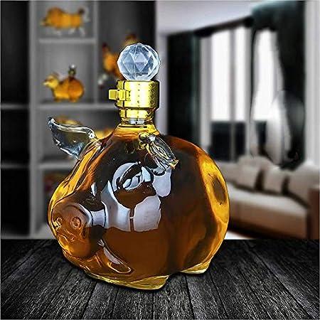 Decantador De Whisky En Forma De Cerdo, Botella De Vino VacíA De Vidrio De Borosilicato De Alta TecnologíA, Botella Sellada con Enzima, Fiesta De Bar