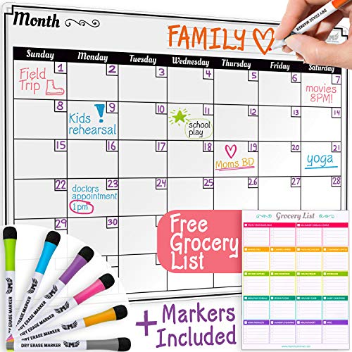 Dry Erase Monthly Calendar Set-Large Magnetic White Board & Grocery List Organizer for Kitchen Refrigerator (Horizontal) ()