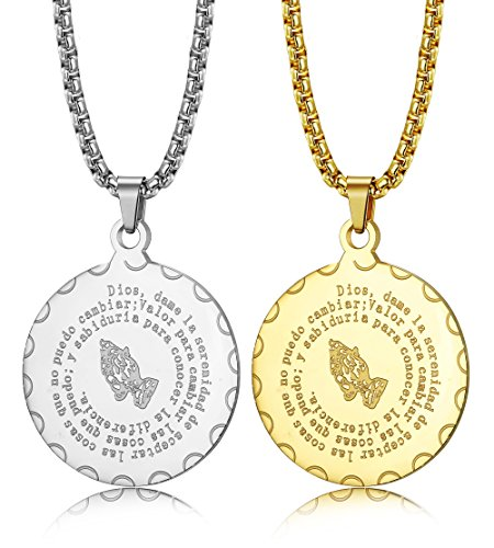 ORAZIO 2Pcs Bible Verse Prayer Necklace Christian Jewelry Stainless Steel Praying Hands Coin Medal Pendant