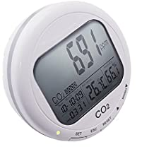 Desktop 3 in 1 Carbon Dioxide/Relative Humidity/Temperature Meter, CO2 ppm RH C/F Indoor Air Quality Monitor, for Home Grow Growing Room Continuous Monitoring Clock with Date & Time