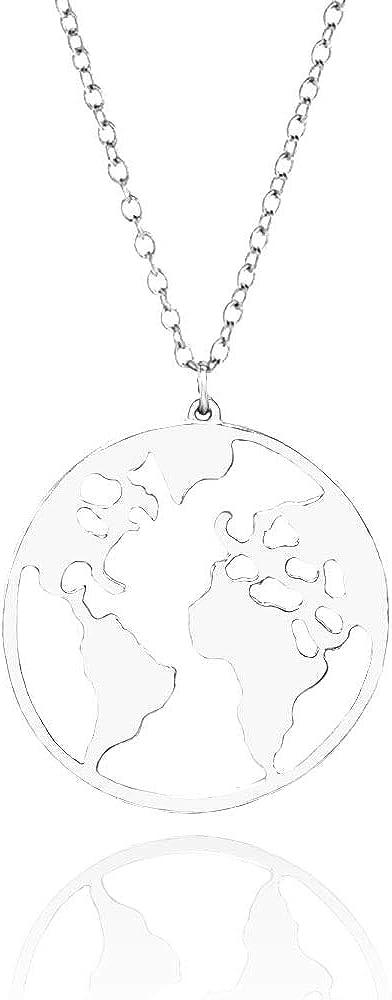 Joyer/ía de personalidad de moda Mapa del mundo colgante WikiMiu Collar para Mujer