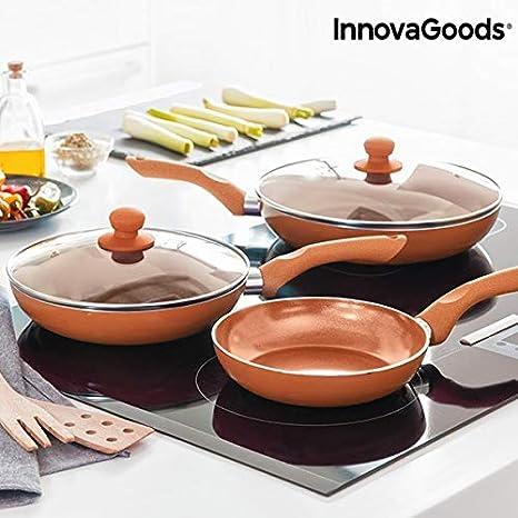 Innovagoods IG813048 Juego De Sartenes Copper-Effect, Cobre: Amazon.es: Hogar
