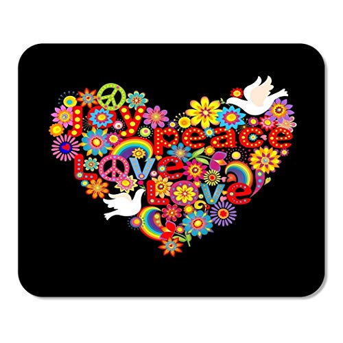 Mousepad Computer Notepad Office Colorful Peace Heart Shape with Hippie Symbolic and Doves Sign Flowers Psychedelic Home School Game Player Computer Worker (Best Java Game Framework)