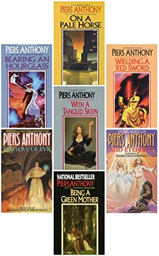 Incarnations of Immortality Set (Books 1-7) 1983-1990; On a Pale Horse, Bearing an Hourglass, With a Tangled Skein, Weilding a Red Sword, Being a Green Mother, For Love of Evil, & And Eternity