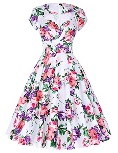 Pin Up Dresses For Sale (Women's Cut-out Floral Cap Shoulder Floral Vintage Wedding Dresses Size S BP01-8)