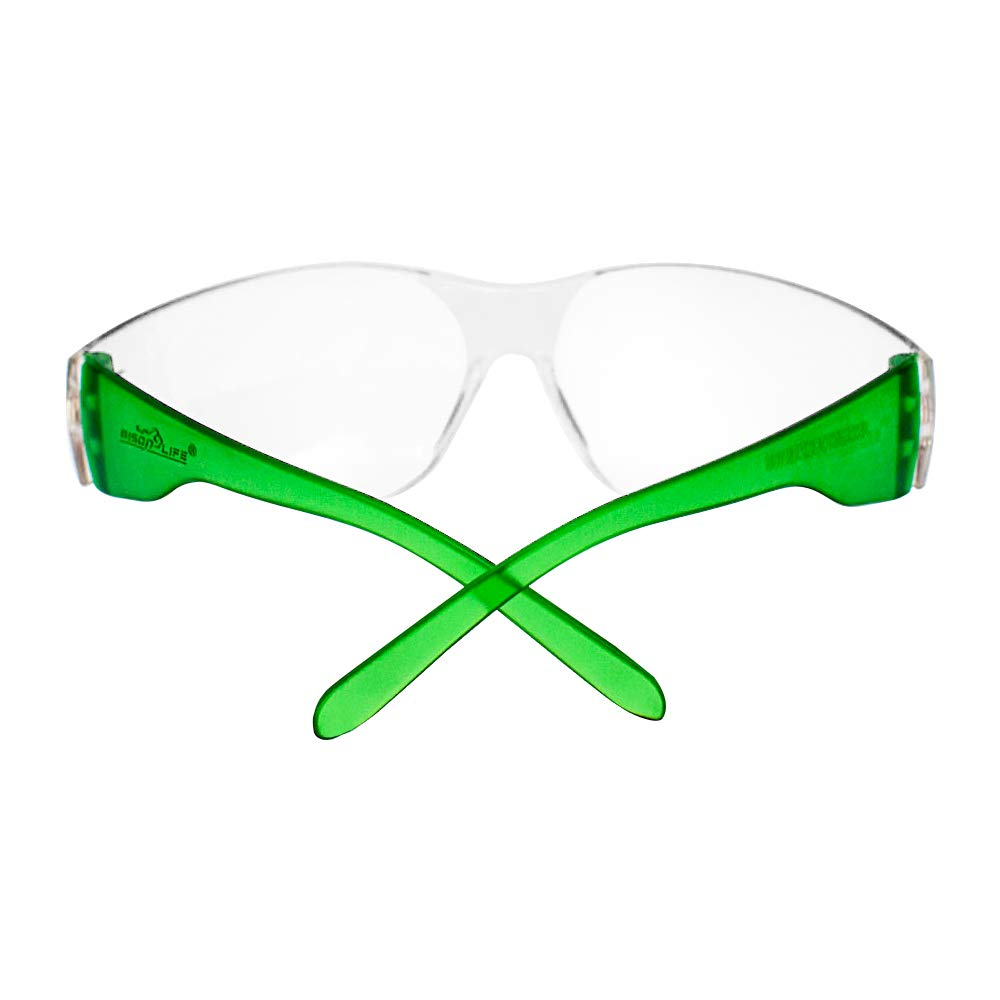 SAFE HANDLER Protective Safety Glasses, Clear Polycarbonate Impact and Ballistic Resistant Lens - Green Temple (Case of 12 Boxes, 144 Pairs Total) by Safe Handler (Image #4)