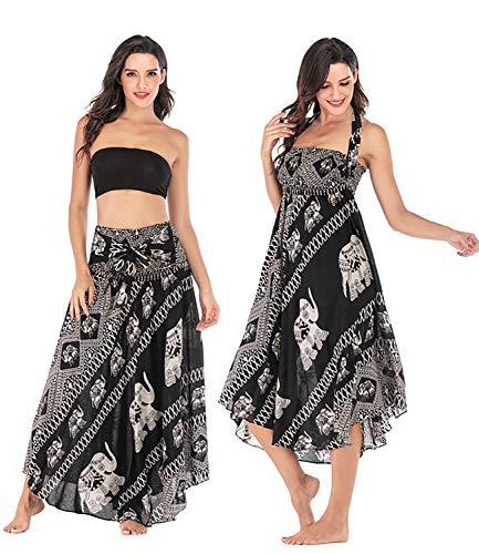 Salamola Women's Long Hippie Bohemian Skirt Gypsy Dress Bohemian 2 in 1 Printed Beach Dress Skirt Cover Up Female Bikini Wrap (Elephant Black)]()