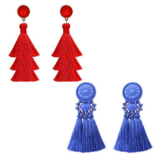 boderier Bohemian Statement Thread Tassel Chandelier Drop Dangle Earrings with Cassandra Button Stud (Royal and Red) (Red Bead Chandelier Earrings)
